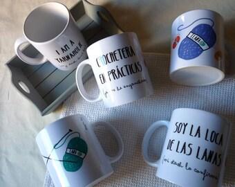 Yarn mug, knitters and crocheters gift, digital illustration, 11oz for tea or coffee
