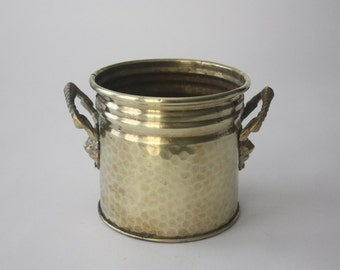 Round Vintage Hammered Brass Container with Lion Head Handles