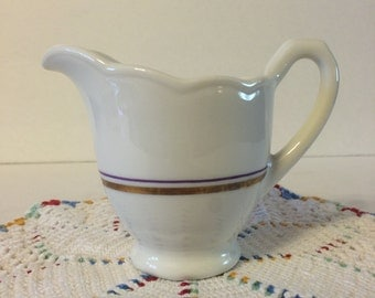 Syracuse China LL-6 Restaurant Creamer Gold and Purple Trim VGC White