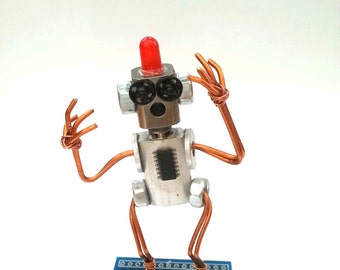 Al, the Alarm - Bot. Hand made tiny robot from recycled materials and found objects. Ideal gift for lover of robots