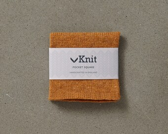 Knitted Pocket Square - Mustard Brown
