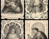 Mary Madonna and Child. Lace Holy Prayer Cards. 14.5 x 21.5. Digital Paper Download Scrapbooking Supplies. Instant Download. High Resolution