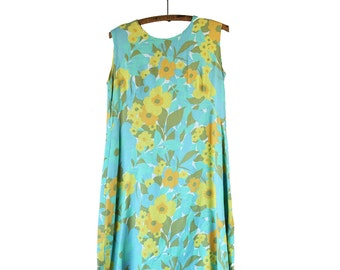 60s Psychedelic Floral Linen Shift Dress | Medium / Large