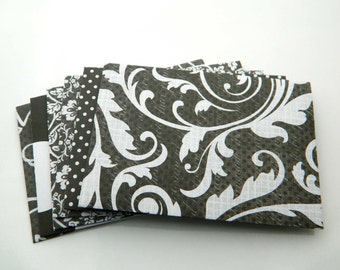 White and Black Envelopes -Set of 6 - Handmade Envelopes, Money Envelopes, Cards Envelopes, Black White, Geometric, Flowers, Roses. Elegant