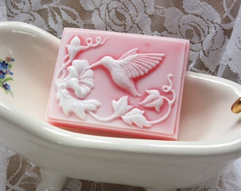 hummingbird soap/ glycerin soap/ scented in Blossom/hand made soap