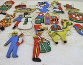 Vintage Lot of 13 Hand Painted Wood Christmas Ornaments~Hand-Painted Ornament~Vintage Holiday Hand-Painted Ornaments