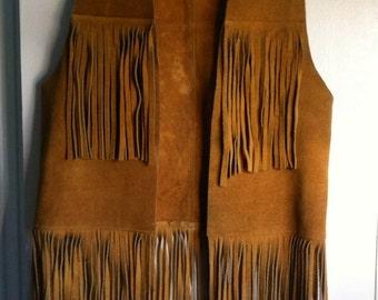 Vintage Buckskin Leather Fringe Vest