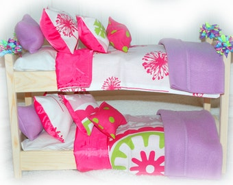 Double Doll Bunk Bed - Make A Wish American Made Girl Doll Bunk Bed - Fits 18 inch dolls and AG dolls