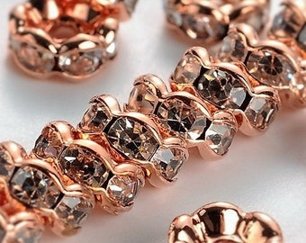 NEW Gorgeous 6 MM Rose Gold Brass Crystal Rondelles in a Wavy Design (20) (RGRC)