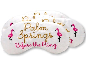 Flamingo Palm Springs bachelorette party sleep mask party favors with flamingos Bridesmaid Miami Las Vegas