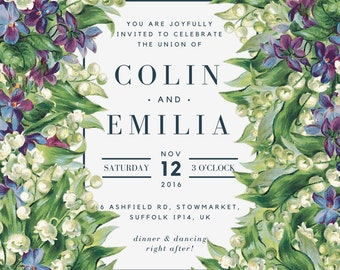 Formal Botanicals Wedding Invitation, digital download, customizable, printable