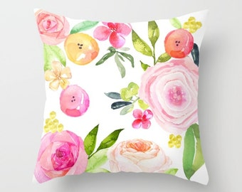 Pretty Spring Floral Watercolor pillow cover.A lovely mix of blooms in soft  pastel pinks, coral, yellow, and green tones perfect for spring