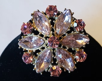 Pretty As A Princess - Vintage Pink Rhinestone & Plastic Gemstone Brooch/Pendant