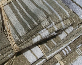 Bundle of Vintage French 1930's Mixed Stripe Brown Buff Ecru Linen Ticking Fabric Pieces