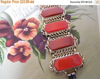 Two Color Wide Shaded Thermoset Bracelet Orange & Brown    KJ32