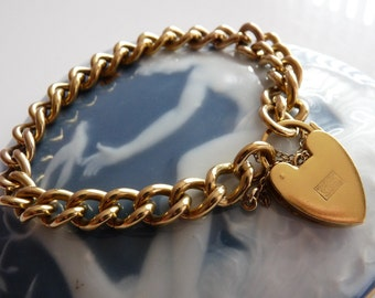 Mid Century Victorian Revival Rolled Gold Heart Padlock Charm Bracelet ~ 29.3 grams