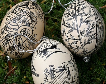 India Ink Vintage Decorated Embellished Chicken Eggs Ornaments Drawings Scenes Christmas Holiday Decorations Set Instant Collection