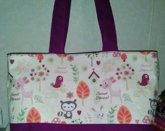 Ready to ship handmade forest animals tote/diaper bag
