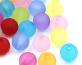 500 pcs Acrylic Matte Round Frosted Beads, 6mm - Assortment of Colors - 1mm Hole Size