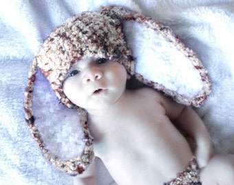 SALE 0 to 3m Bunny Hat Newborn Rabbit Beanie, Crochet Newborn Baby Hat, Speckle Brown Bunny Costume, Baby Bunny Ears  Costume Labor Day
