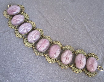 Star Sapphire Bracelet, Purple Star sapphire bracelet, vintage chunky bracelet, purple stone bracelet, accessories, statement jewelry