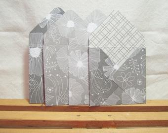 Gray and White Envelopes, Gray and White Mini Envelopes, Classic Gray and White Designs