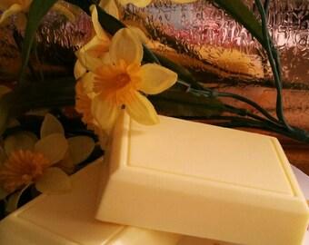Extra Creamy Triple Butter LEMON POUND CAKE Soap---Shea Cocoa, & Mango Butter--Loads of Creamy Rich Lather--Vegan Friendly