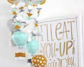 Hot Air Balloon Baby Mobile- Mint and Grey- Tribal