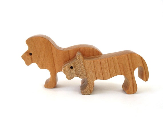 Wood Toy Lions Miniature Noah's Ark Animals Zoo Play Set Lion Figurine Hand Cut Scroll Saw
