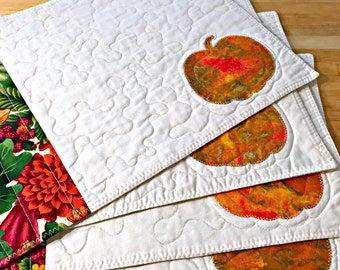 Quilted Placemats, Fall Placemats, Autumn Placemats, Pumpkin Placemats, Pumpkin Decor, Harvest Decor, Thanksgving Placemats