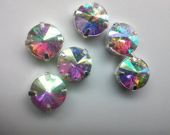 8 Pieces of  10 mm AB  Czech Crystal Rivoli Glass  with Silver Prong Claw Sew on Setting.