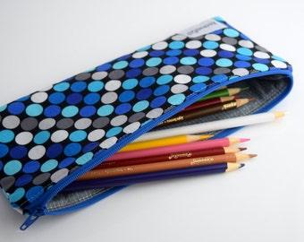Pencil Pouch Zipper, Back to School Supplies,Pencil Pouch Organizer, Polka Dots, Handmade, Zookaboo, Ready to Ship