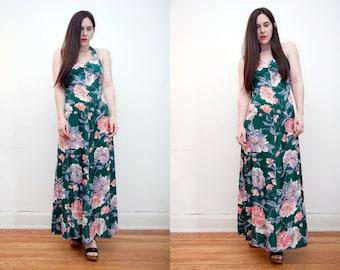 Vintage Floral Oriental Halter Low Back Maxi Dress 1970's