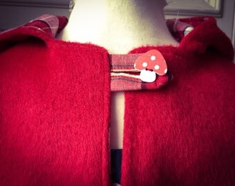 Childrens red riding hood Cape, woodland, toadstools, cloak, caplet, red
