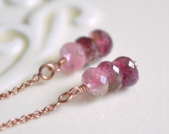 Watermelon Tourmaline Earrings, Rose Gold Threader Earrings, Real Gemstone, Ear Threads, Pink Gold Jewelry, Free Shipping