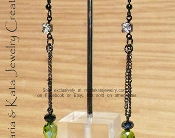 Stunning Iridescent Style or Solid Crystal Dangle Earrings