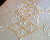 Vintage Chenille Lightweight Cotton Bedspread Yellow White Candlewick Style Full Size