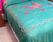 DO NOT Buy On Hold for Michelle Vintage Chenille Bedspread Dark Green with Red and Brown Bird
