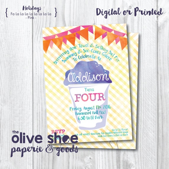 Sno Cone Birthday Party Invitation | Gingham | Boy or Girl | Custom Order | Printable or Printed | Front and Back | Watercolor | Colorful