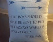 Peter Pan pillow  baby boy throw pillow  baby shower gift cotton canvas nursery cushion J M Barrie quote ornament boyfriend gift home decor