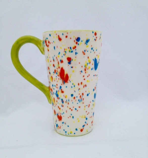 Ceramic Tall Latte Mug Coffee Cup Pottery White Blue