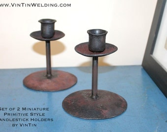 Matching Set of 2 Hand Forged Iron Miniature Primitive Style Candlestick Holders by VinTin