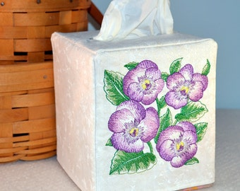 Pansy Bouquet Embroidered Fabric Tissue Box Cover
