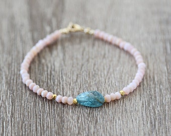 Soft Pink Opal with Apatite Nugget Bracelet / Sterling Silver / 14K Gold Filled / Rose Gold / Layering Stackable Gemstone Bracelet