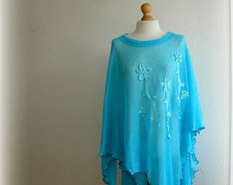 Turquoise  Summer LINEN Poncho Hand - Dyed  Knitted Linen  Unique Art Eco Friendly Women's Sweater Fiber Art Beach Poncho Pus Size