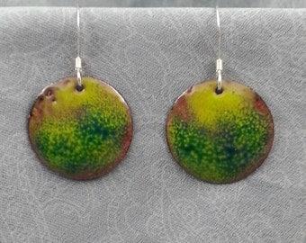 Enameled Copper Earrings