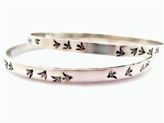 Birds in Flight Solid Sterling Silver Bangle Personalize Inside and/or Outside with up to 60 Letters, Numbers, Punctuation, Greek & More