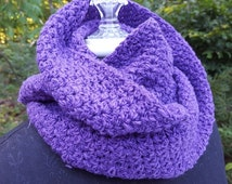 Wild Royal Purple hand  crocheted infinity scarf wrap