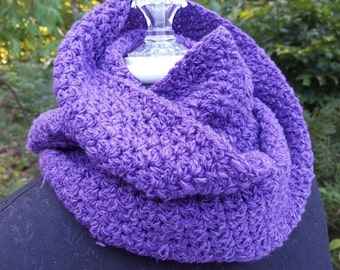 Wild Royal Purple hand  crocheted infinity scarf wrap