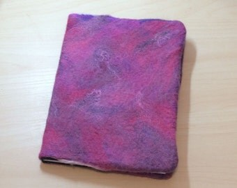 A5 Notebook,  Journal, Diary, Removable Felt Cover, Purple Rose